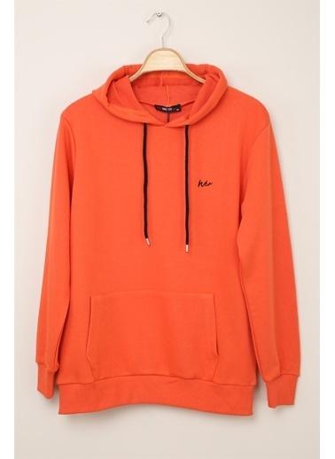 Z Giyim Kapşonlu Pamuklu Basic Sweatshirt Oranj